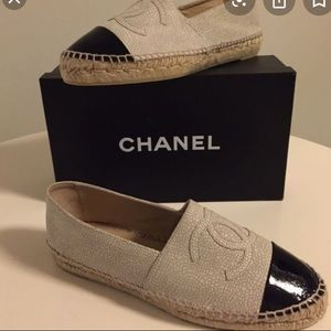 Rare Chanel cracked leather espadrille